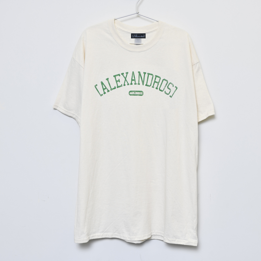 Vintage Style T-Shirt(Natural×Green)
