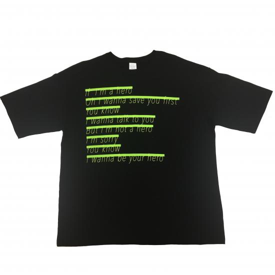 If I'm a Hero Lyric T-Shirts(ブラック)ビックシルエットTシャツポケット付き